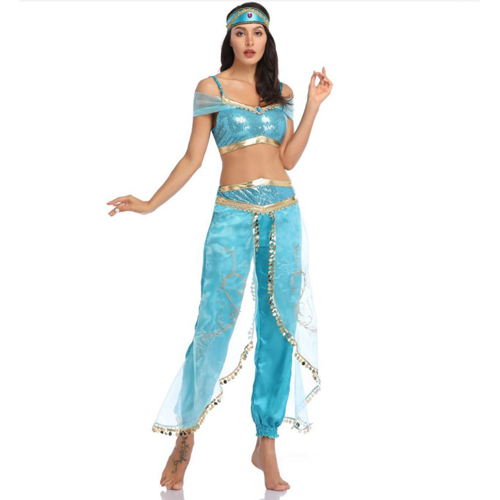 lady women Halloween Princess Jasmine Costume Storybook Aladdin Lamp Cosplay Fancy Dress Belly Dance Performance Clothes  blue_M