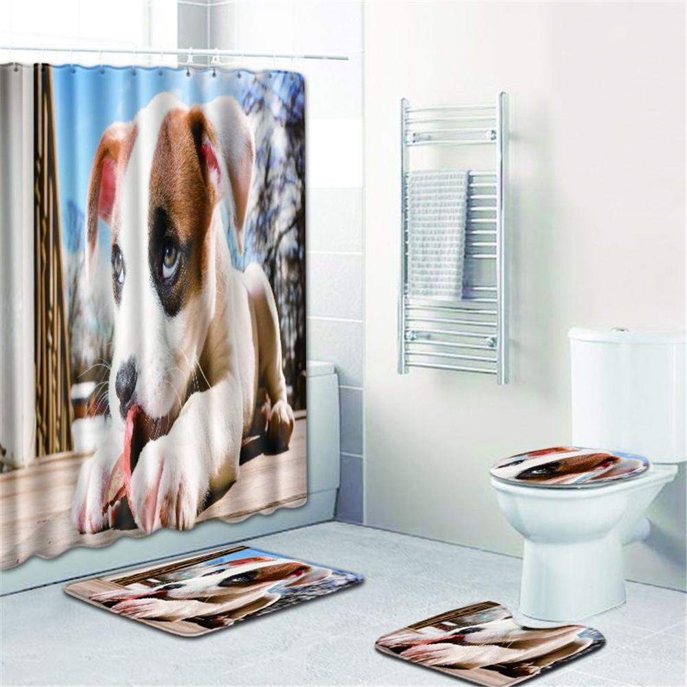 4  Pcs Non-slip Rug Toilet  Lid  Cover Bath  Mat Waterproof Bath  Curtain w180623-d037_50*80cm