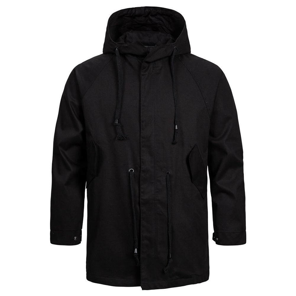 Men's jacket Long-sleeve solid color outdoor  FitType hooded jacket  Black _M