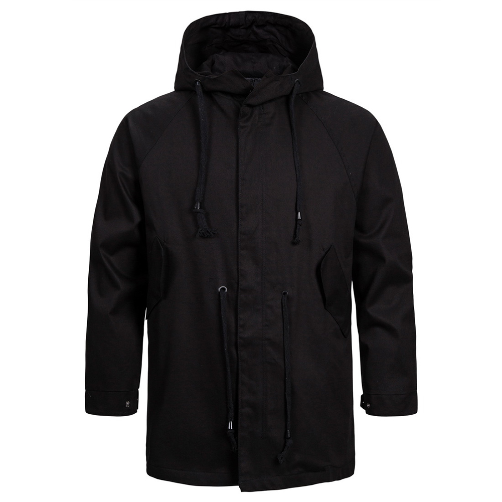 Men's jacket Long-sleeve solid color outdoor  FitType hooded jacket  Black _L