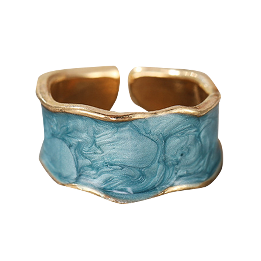 Joint  Ring Alloy+acrylic Enamel Drip Glaze Simple Cool Style Open Ring Ring Lake blue