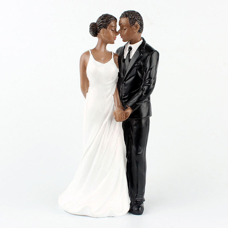 [EU Direct] Wedding Cake Toppers, Resin African American Wedding Figurine Decoration, 6.30 inch