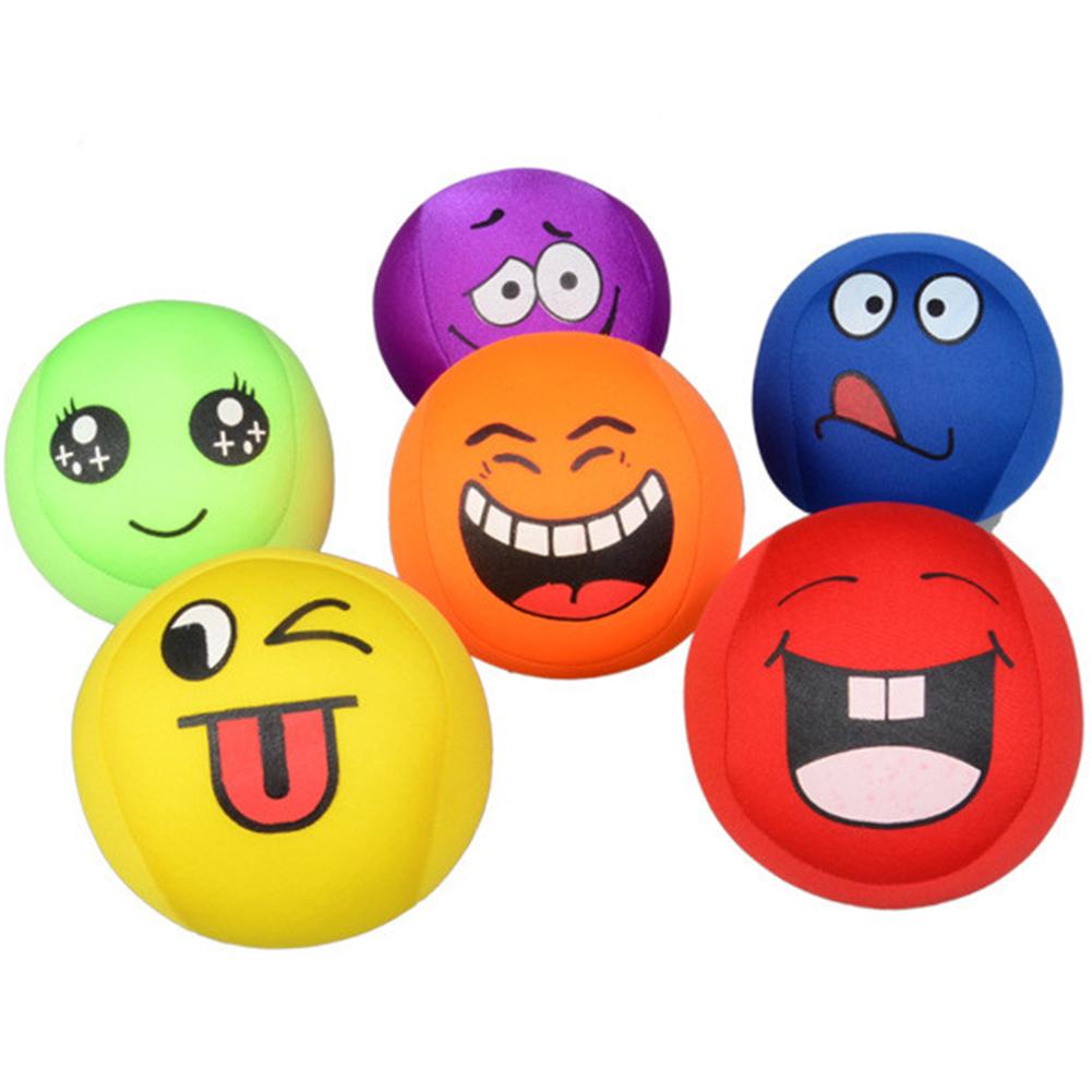 [EU Direct] Baby Educational Toy Cute Facial Expression Squeeze Ball Assorted Color Soft EVA Foam Balls Set for Hand Wrist Finger Exercising