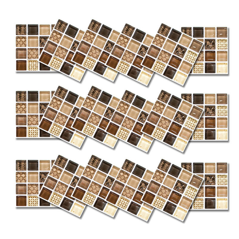 18Pcs 10*10cm Waterproof Oil Proof Self Adhesive Simulate Mosaic Tile Sticker for Kitchen Backsplash Bathroom Wall Decor Photo Color