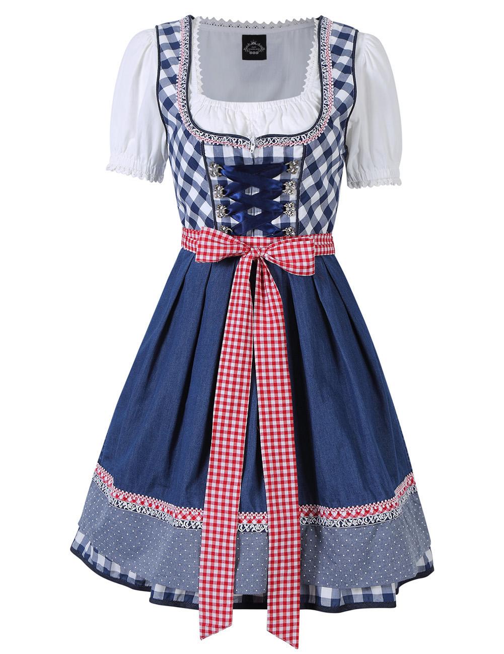 [EU Direct] Women's Plaid Short Sleeve Triple Splicing Dress Suit for Dresses Oktoberfest Holiday Costumes