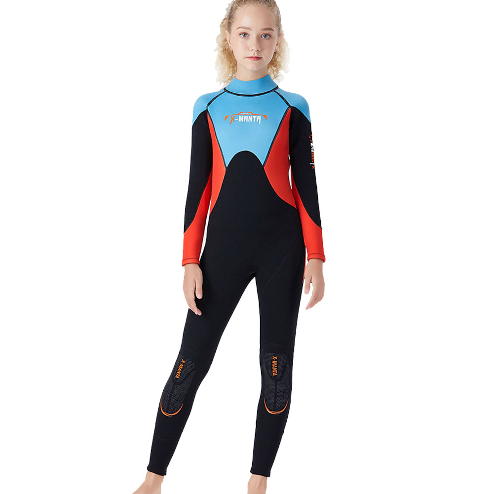 2.5mm Youth Kids Wetsuit Premium Neoprene Long Sleeve Youth Full Wetsuit Scuba Diving Surf Suit for Girls Boys Child black_M