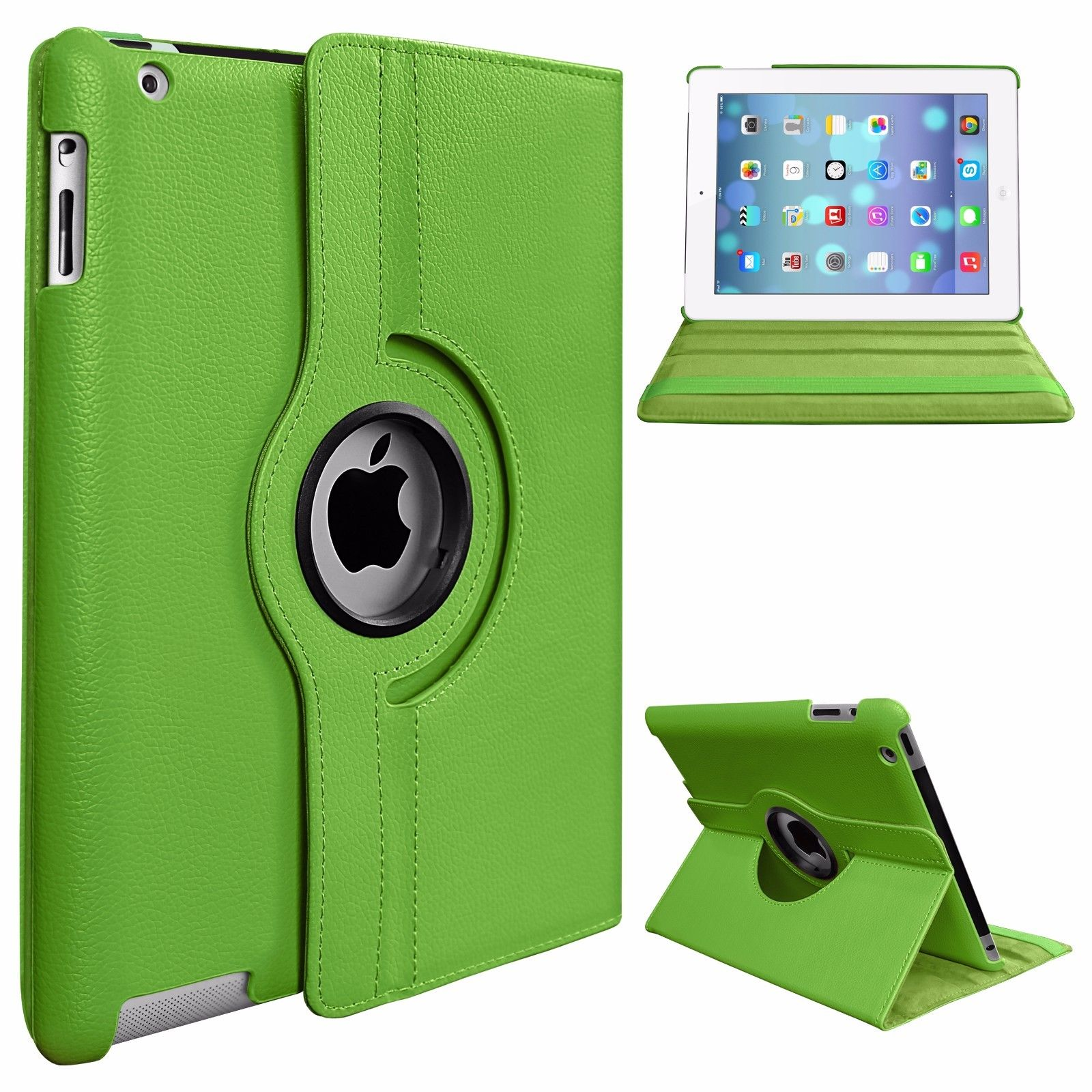 Protective Cover 360-degree Rotating Leather Case for Apple ipad  Air/ipad5 green