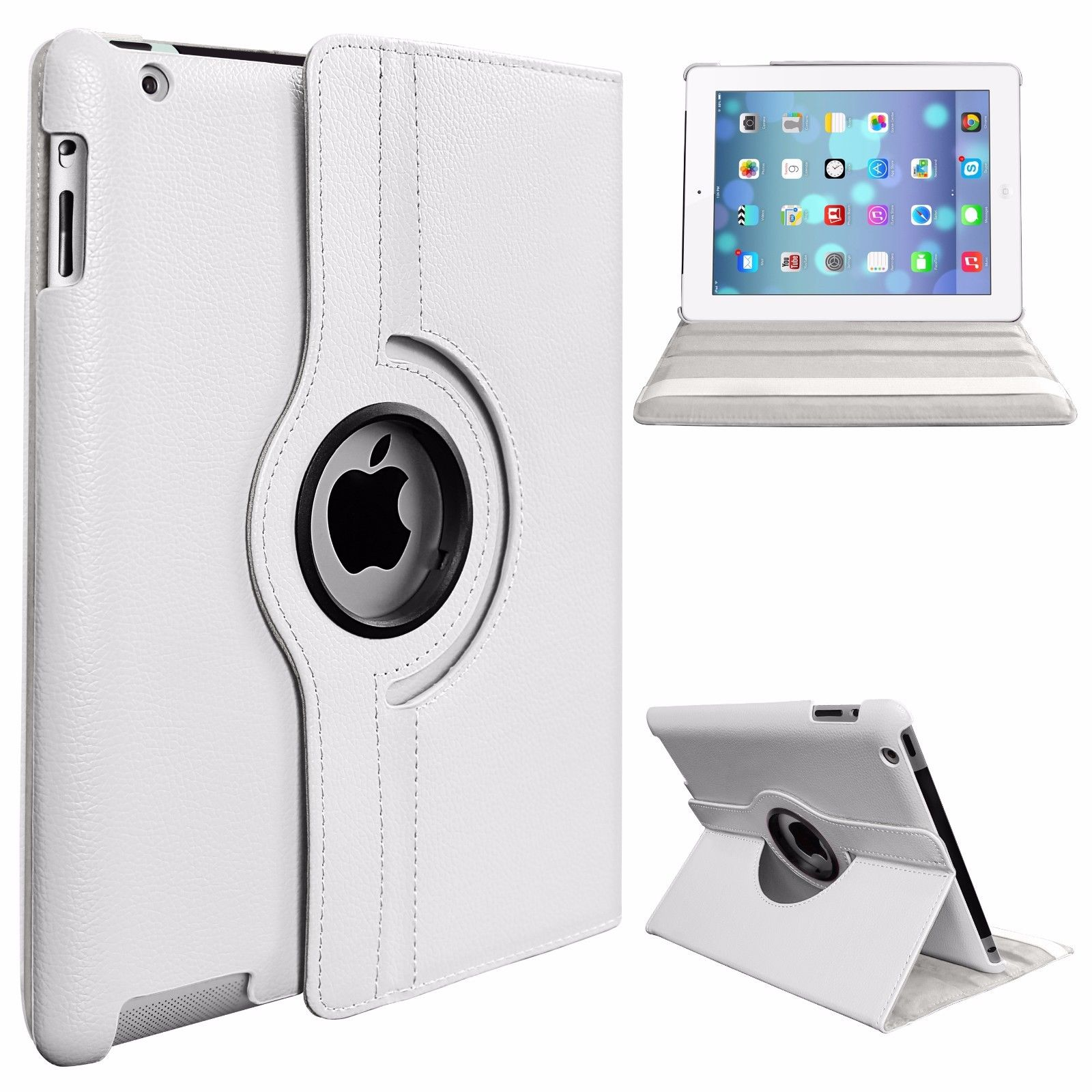 Protective Cover 360-degree Rotating Leather Case for Apple ipad  Air/ipad5 white