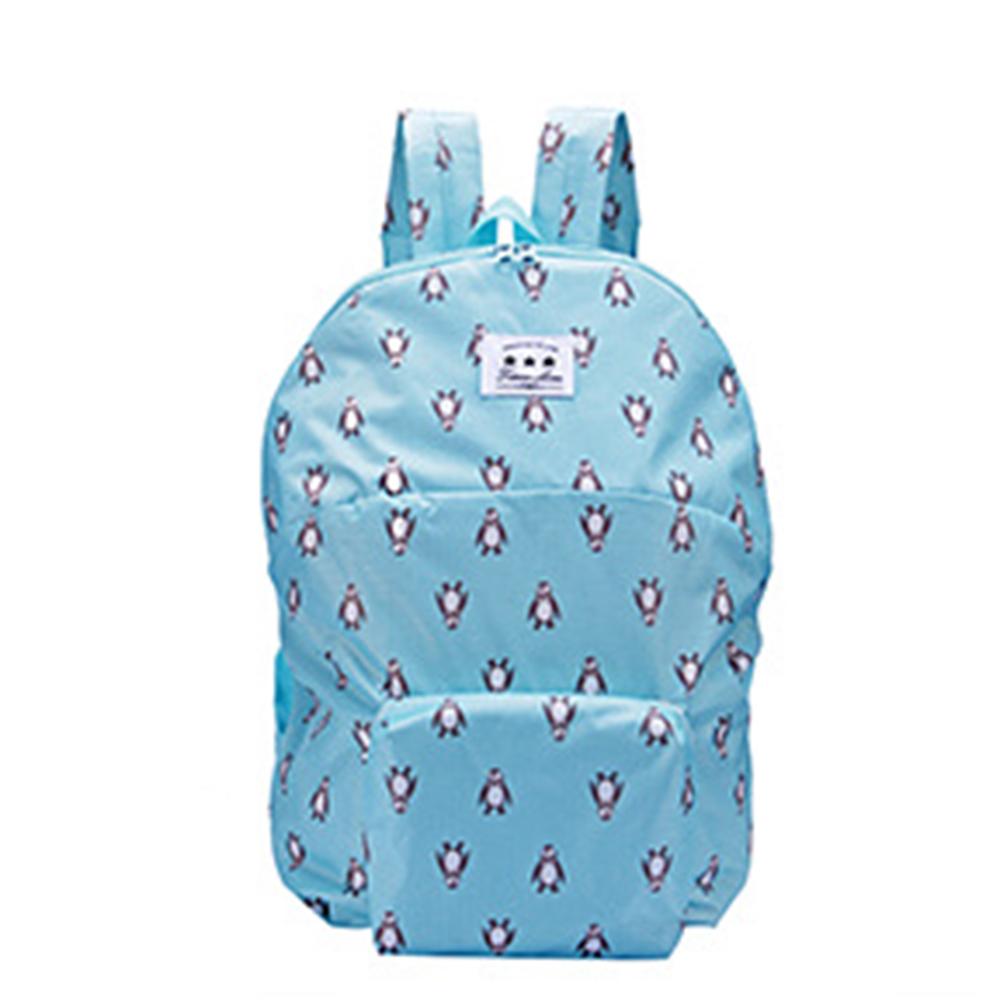 Boy Girl Folding Schoolbag Backpack Cartoon Animal Candy Color Lightweight Double Shoulder Bag Sky blue penguin