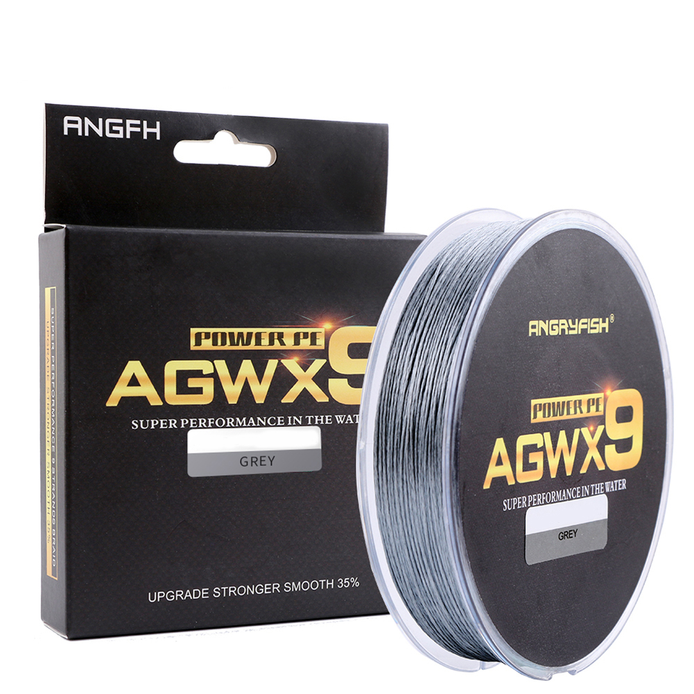 ANGRYFISH Diominate X9 PE Line 9 Strands Weaves Braided 300m/327yds Super Strong Fishing Line 15LB-100LB Gray 2.5#: 0.26mm/35LB