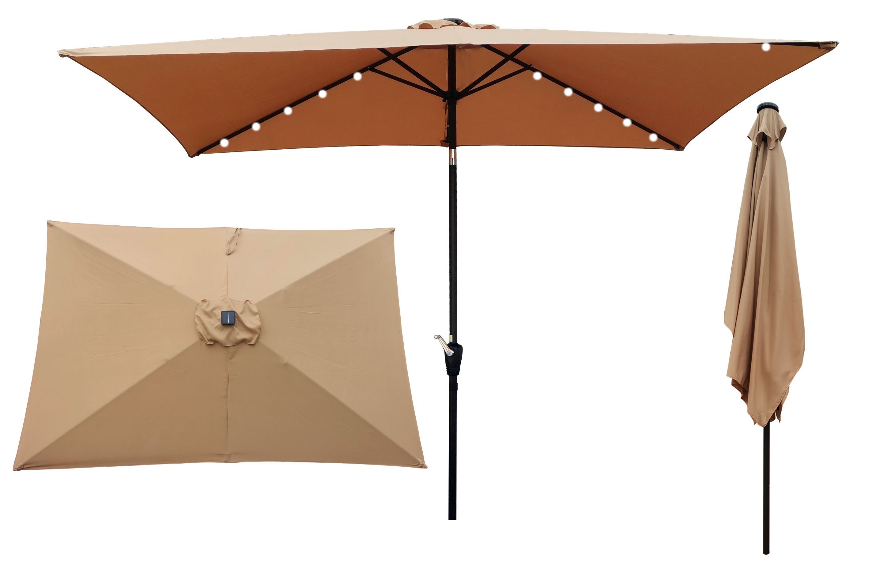 [US Direct] 10 x 6.5t Rectangular Patio Solar LED Lighted Outdoor Market Umbrellas with Crank & Push Button Tilt for Garden Shade Outside Swimming Pool