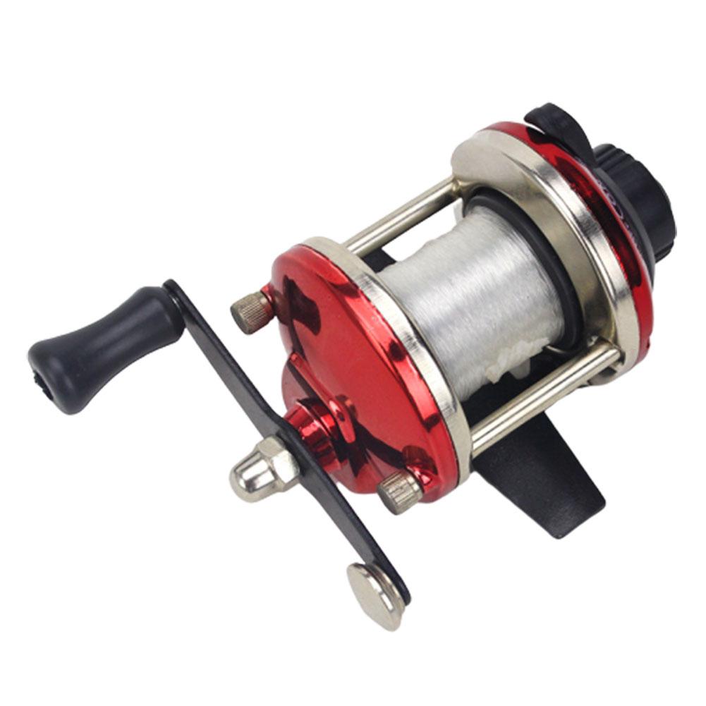 Fishing Reel Mini Metal Bait Casting Spinning Boat Ice Fishing Reel with Fishing Line Blue ice wheel