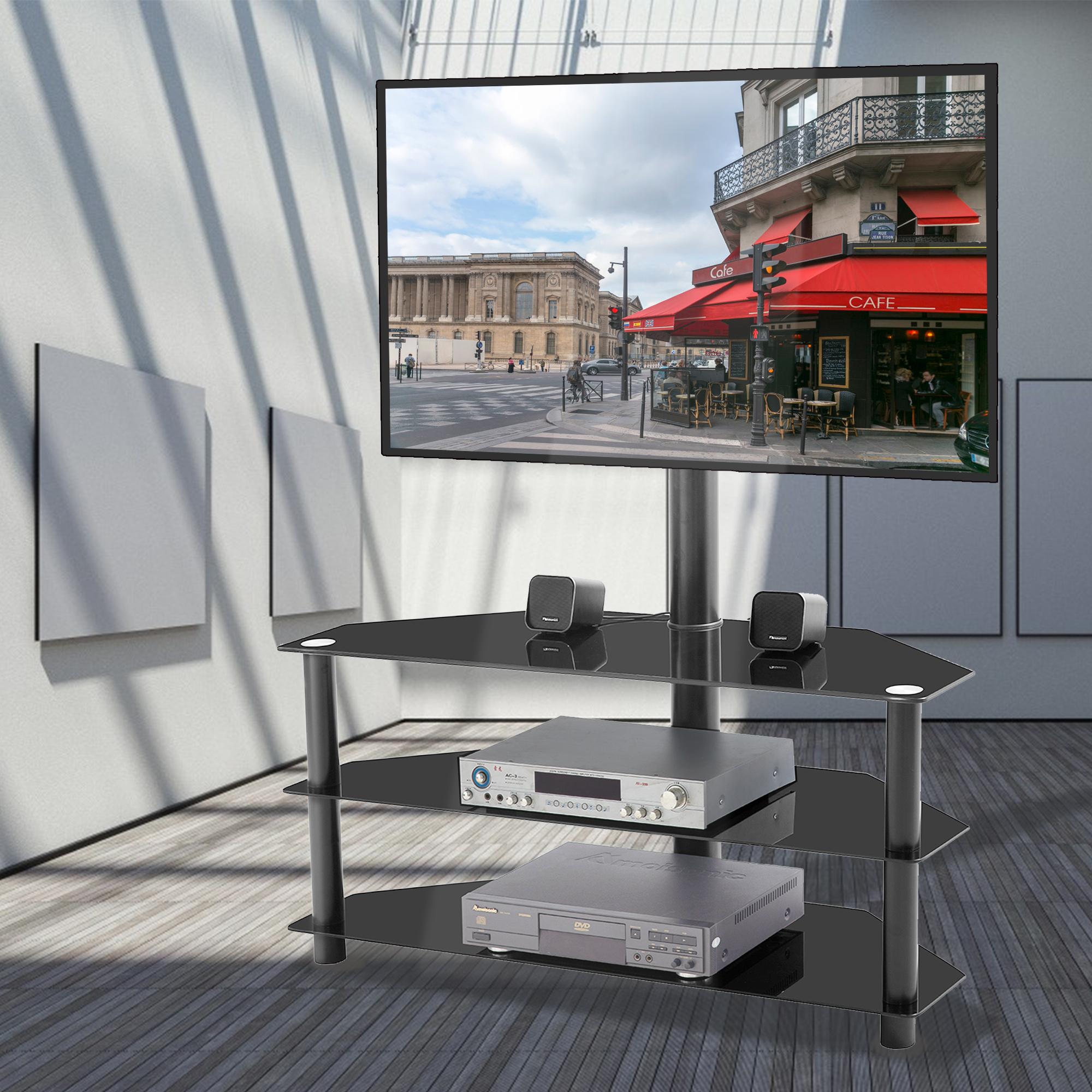 [US Direct] Black Multi-function TV Stand Height Adjustable Bracket Swivel 3-Tier