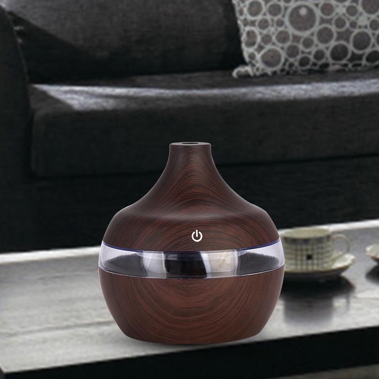 Wood Grain USB Water Drops Home Use Mute Mist Humidifier for Bedroom Living Room Dark wood grain