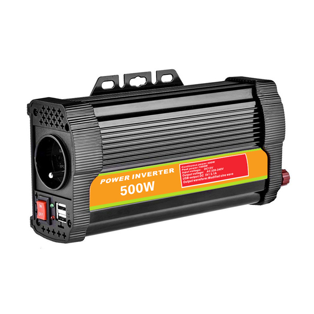 500W Vehicle Car Inverter 12V24V to 220V Solar System Off-grid Converter 12V-110V black