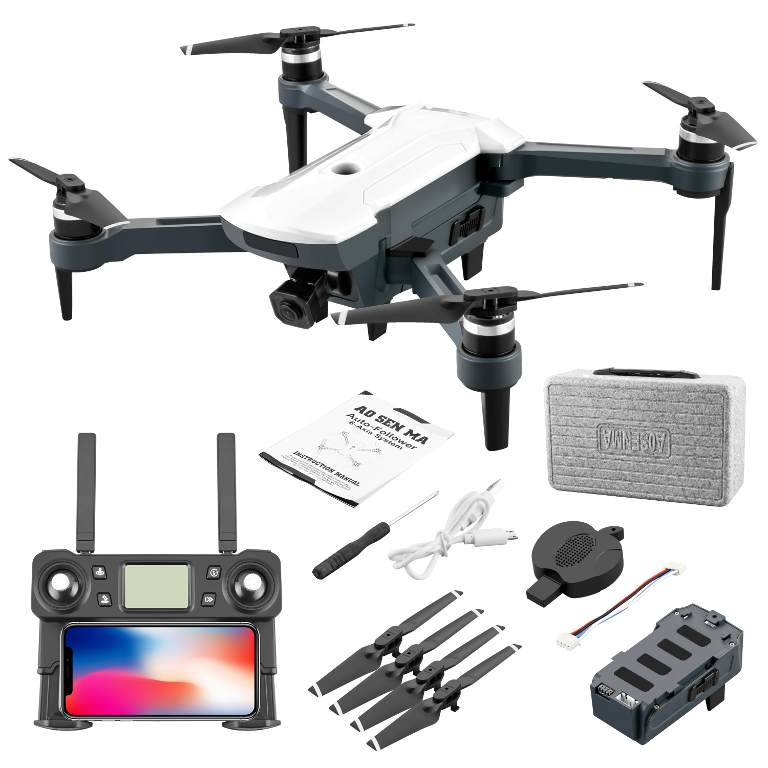 CG028 4K HD 16 Megapixel Aerial Drone With 5G Image Transmission GPS Positioning Foldable RC Quadcopter white_Single battery