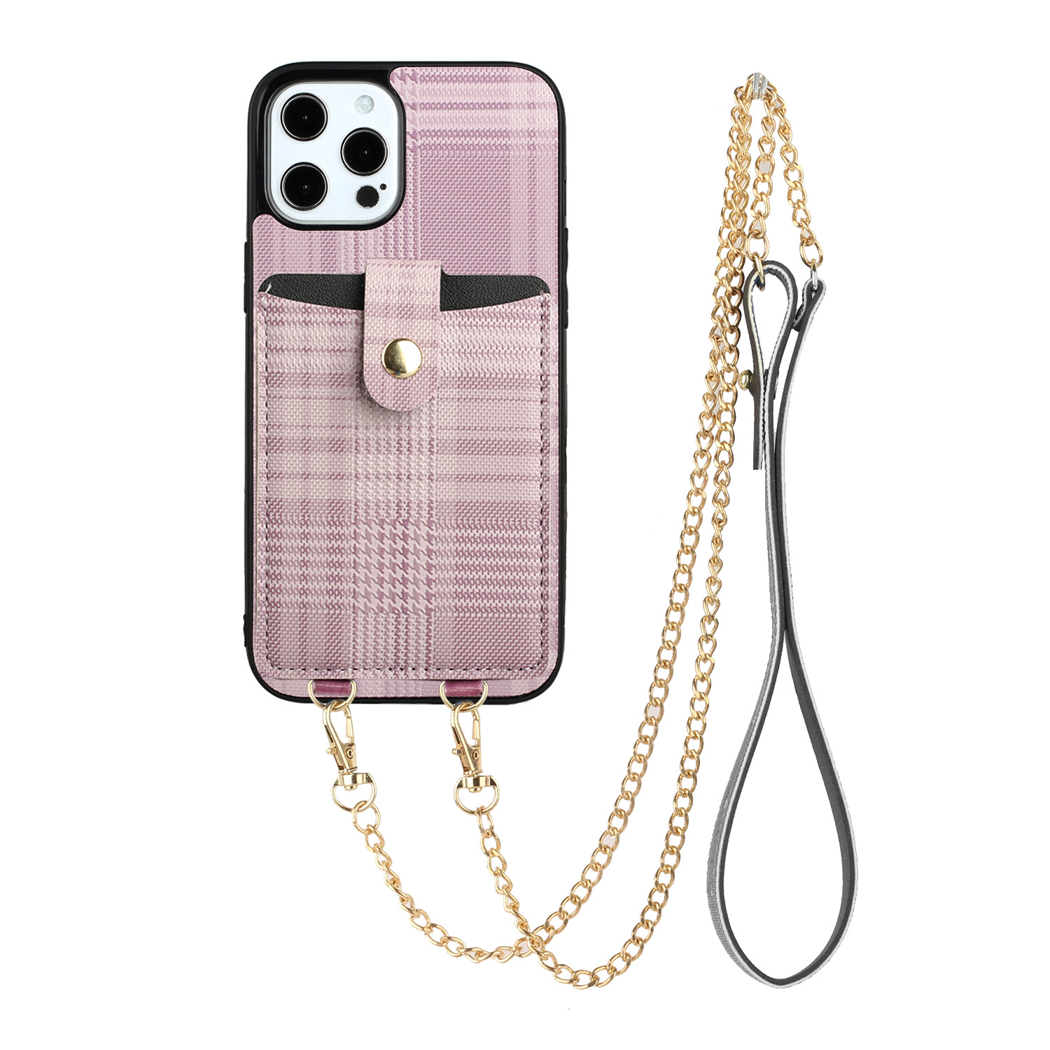 Protective Case Suitable For Iphone11/11pro/11promax Lattice Pattern Messenger Bag Card Mobile Phone Case Pink purple_iphone11PROMAX