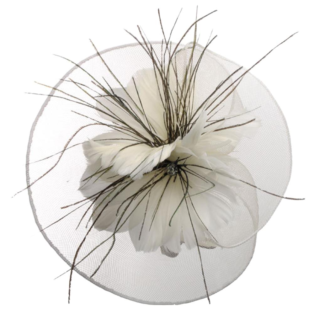 Lady Women Bowler Headdress Hair Ornaments Elastic Net Feather Flower Little Hat for Wedding Banquet