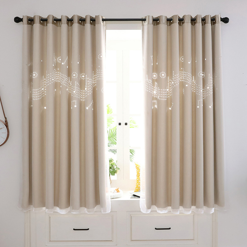 Hollow Out Sheding Window Curtain for Living Room Bedroom Punching Style Beige notes hollowed out_W 100cm* H 200cm