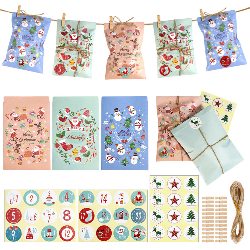 24-piece/set Gift Paper  Bag Christmas Countdown Calendar Small Candy Bag As shown