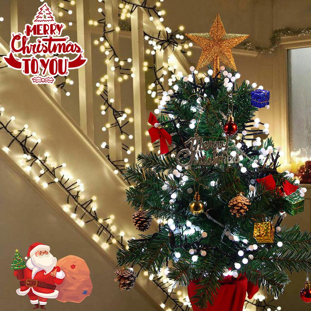[US Direct] LITAKE 400 LEDs LED String Lights 26ft Double Color Decorative String Lights Water-Resistant Christmas Decorative Lights (Warm White+White)