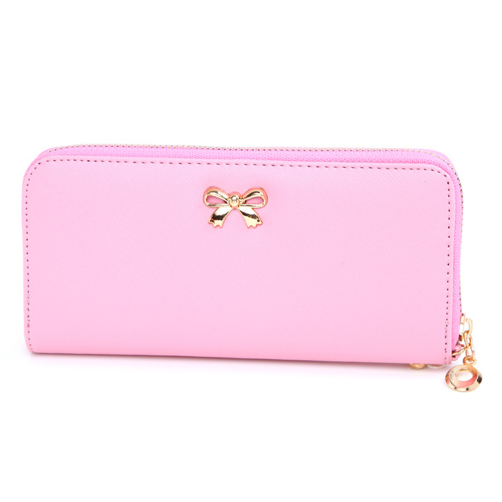Fashionable Women Embossed Bowknot PU Leather Wallet Wear-resistant Zipper Handbag Clutch Organizer Card Holder