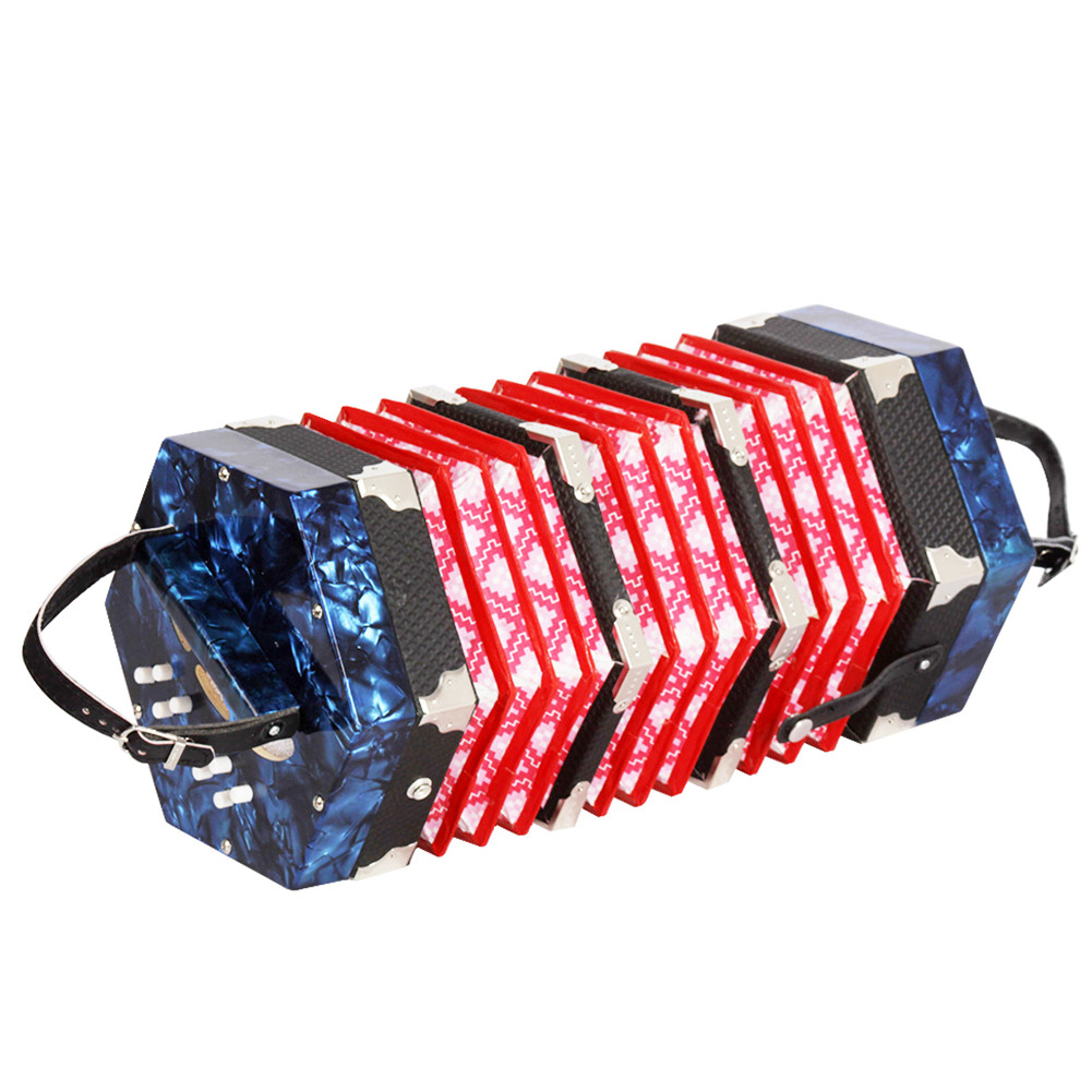 20-Button Concertina with Carrying Bag Adult Primary Professional Playing Hexagon Accordion blue