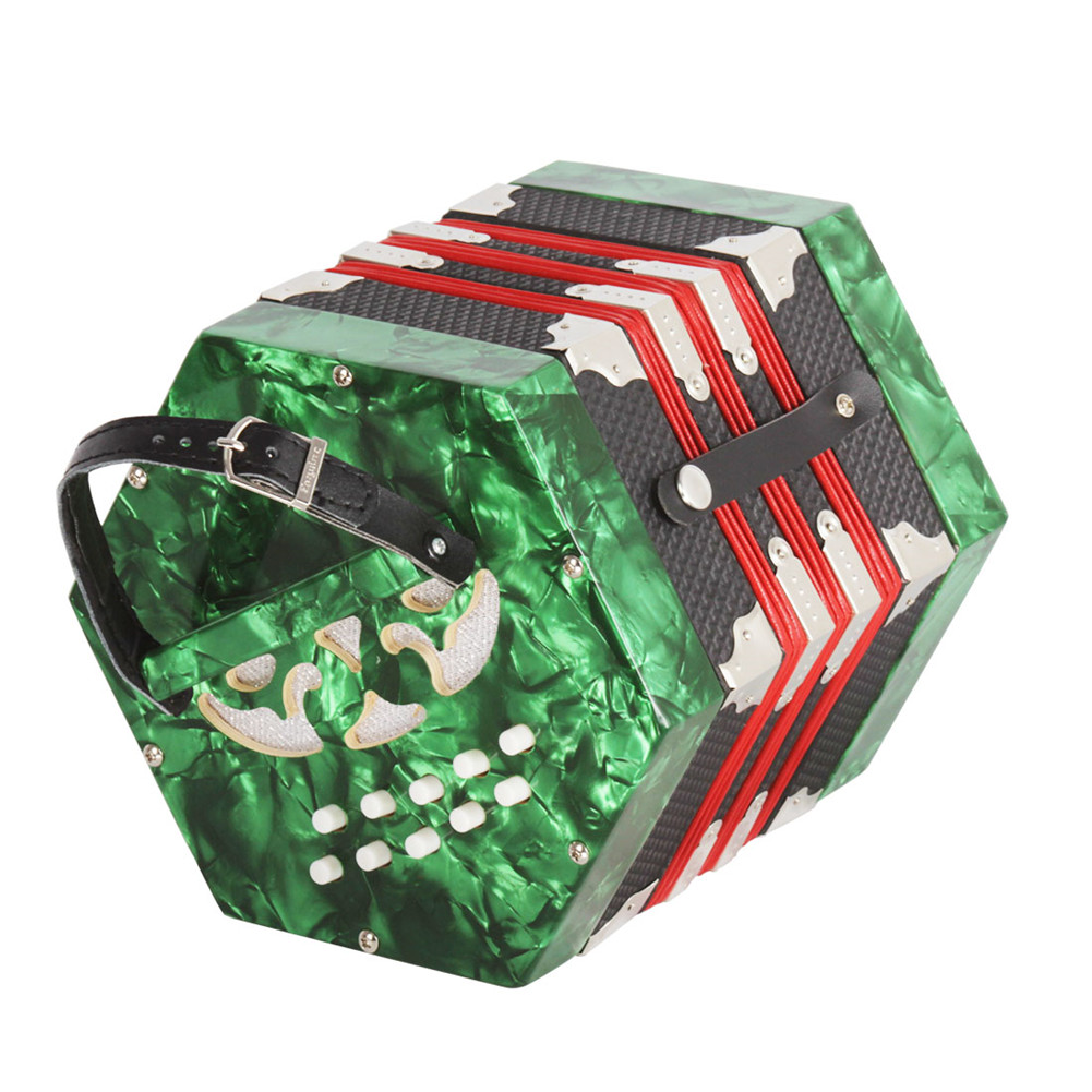 20-Button Concertina with Carrying Bag Adult Primary Professional Playing Hexagon Accordion green