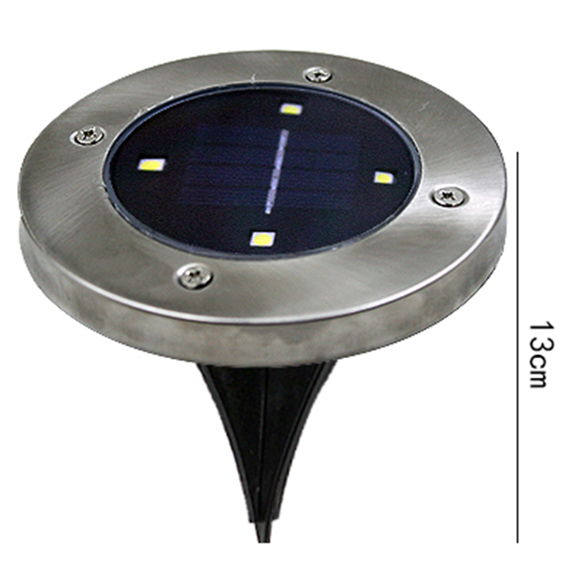 Solar Powered 4 LED Light Spots, 5W Outdoor Waterproof Buried Light Garden Decoration Warm white