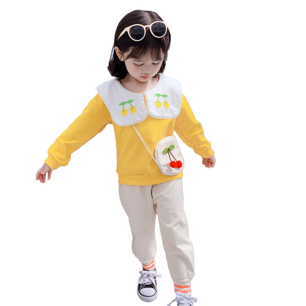 Kids Girls Cherry Long Sleeve Tops + Trousers for Spring Autumn Clothes yellow_100cm