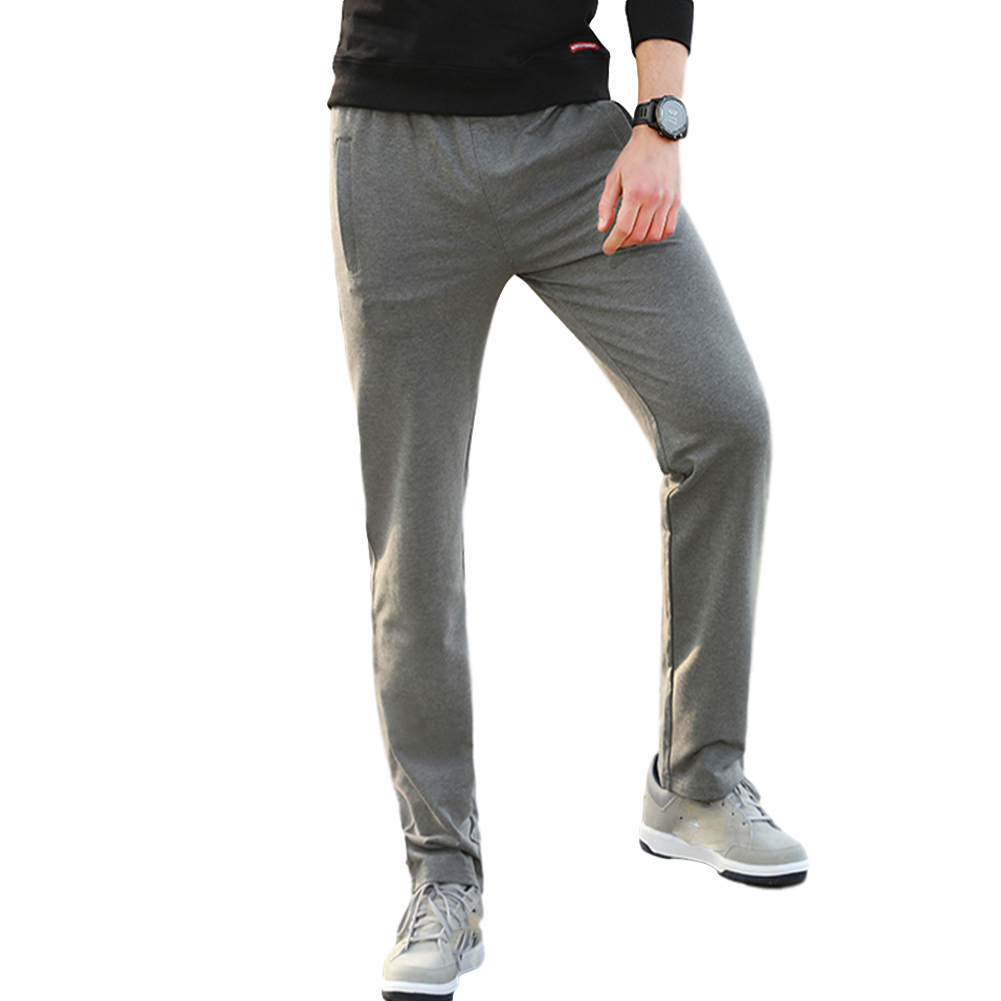Men's Casual Pants Thin Type Cotton Loose Running Straight Sports Trousers Dark gray_L