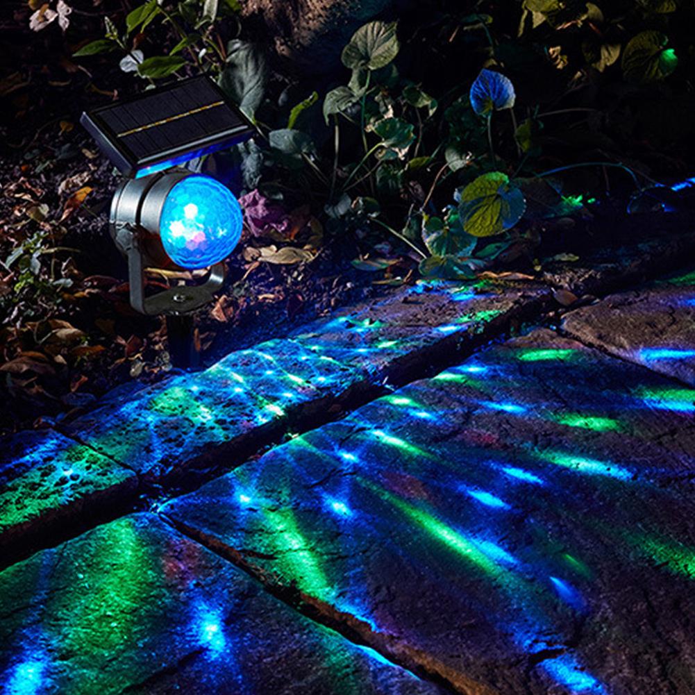 Solar-Powered LED Rotating Colourful Projection Lamp Sound Sensor Magic Ball Yard Garden Festival Wedding Decoration