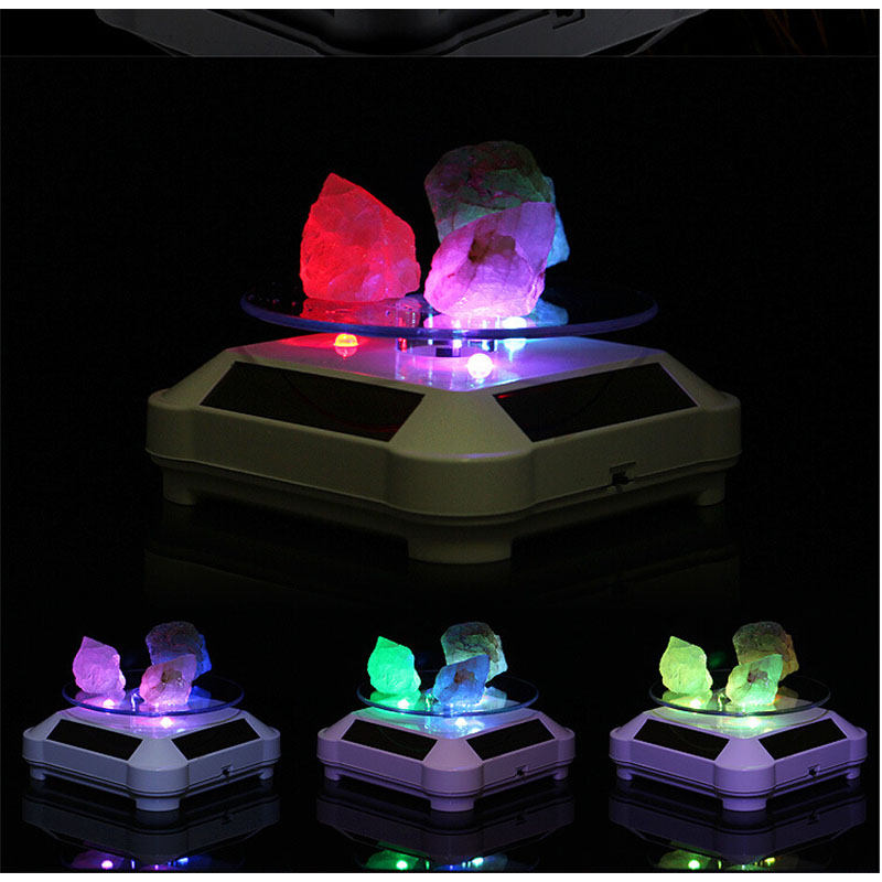 Solar Powered 360 Degree Rotating Display Stand with Colourful LED Light Turntable Display Stand for Jewelry Watch Ring Phone Decoration white