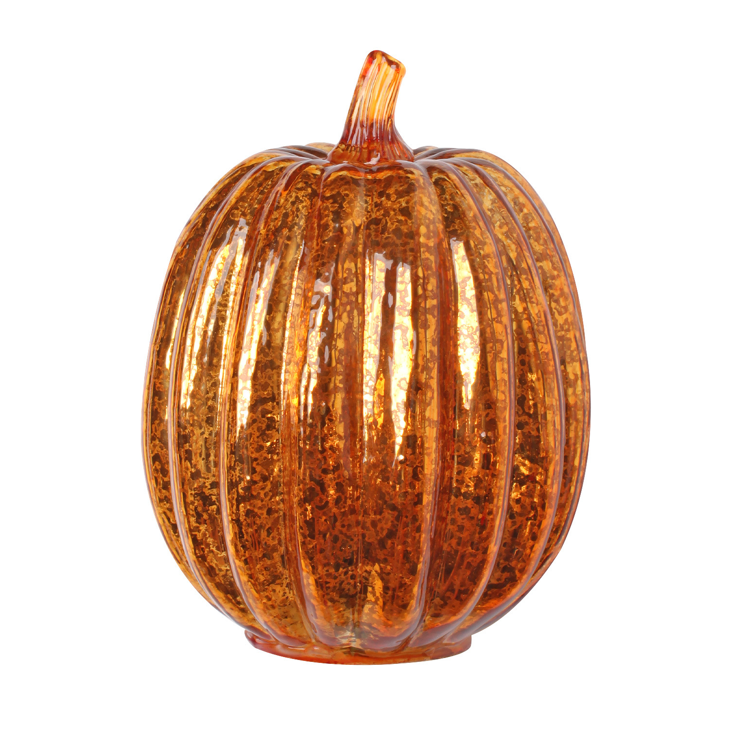 Glass Pumpkin Lamp for Halloween Ghost Party Festival Decorations  Gold 14*22cm