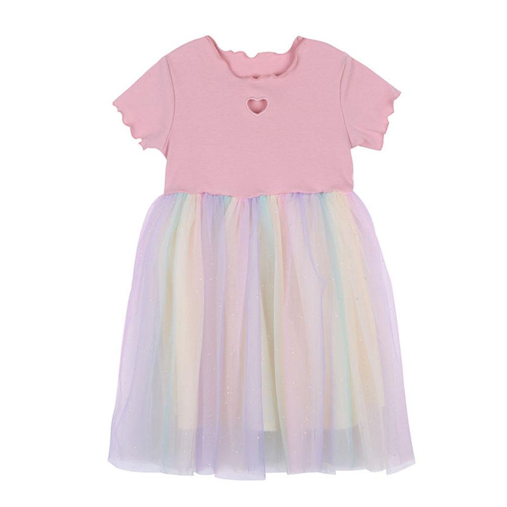 Girls Dress Knitted Love-heart Pattern Short-sleeve Rainbow Mesh Skirt for 2-6 Years Old Kids Pink_110cm