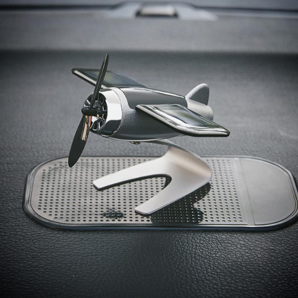 Car Solar Energy Aircraft Model Ornaments Styling Solar Powered Plane for Car Decoration Silver_9*5*4