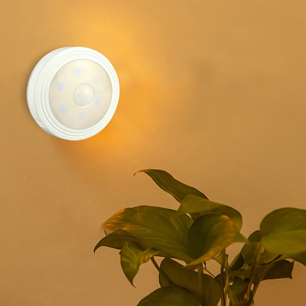 1PC Intelligent Round Shape Body Induction LED Night Light for Cabinet Toilet Lighting Warm White_Battery model (with magnet)