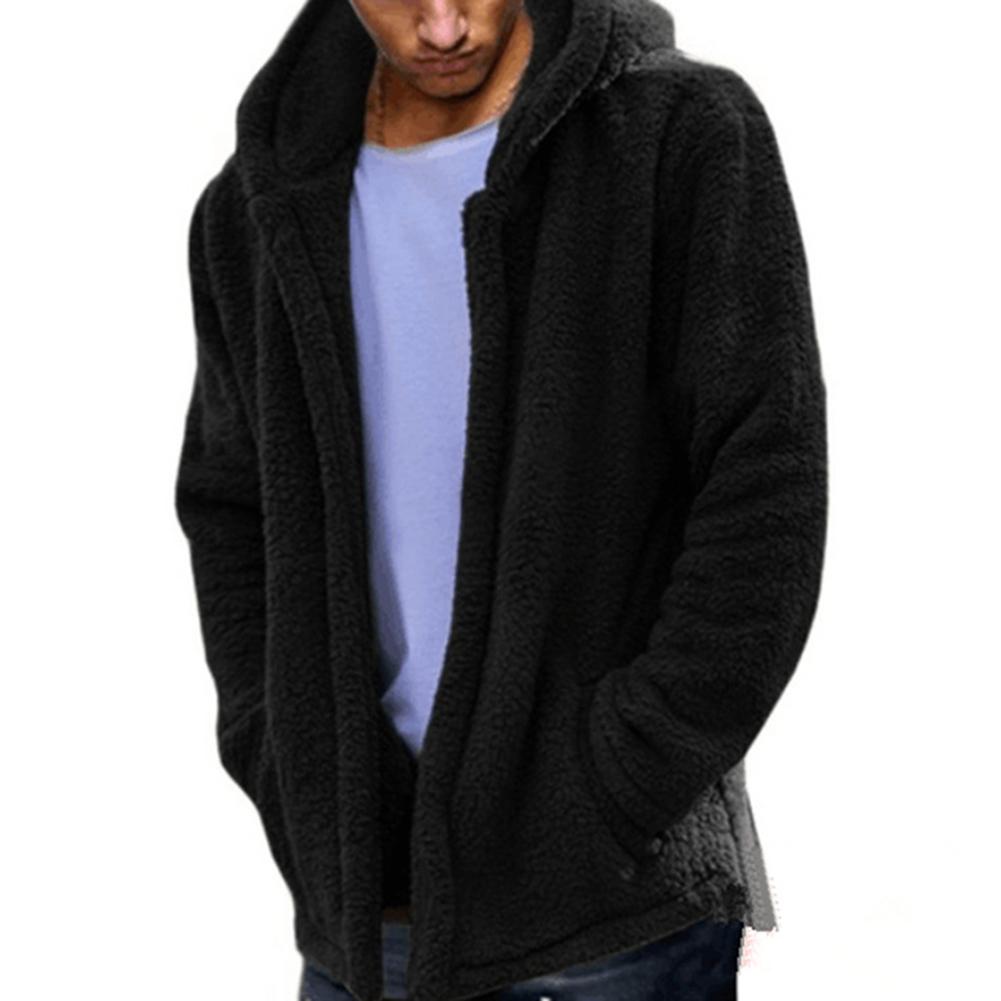 Men Casual Fluffy Fleece Coat Cardigan Hooded Sweatshirt Hoodie Jackets Outwear black_M