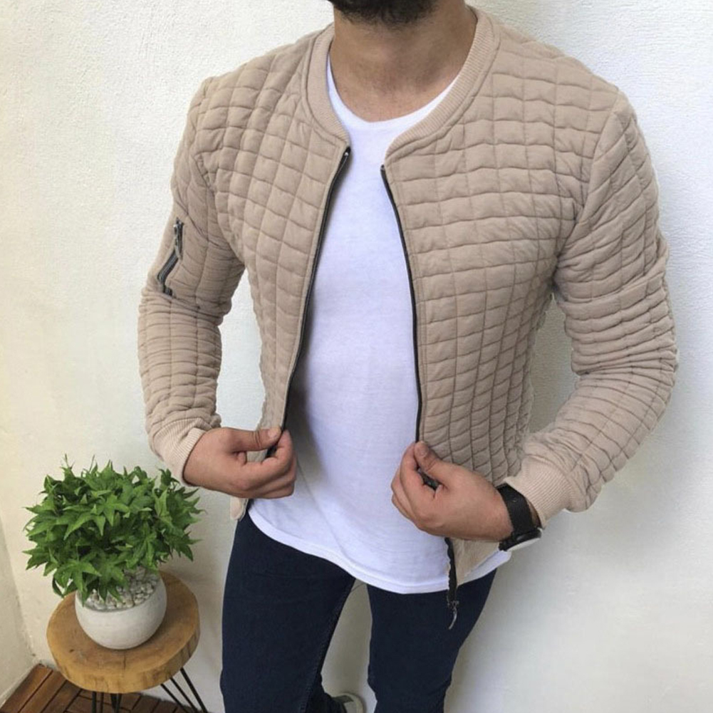 Slim Fit Jacket Leisure Sports Coat Men Casual Jacket Khaki_XL