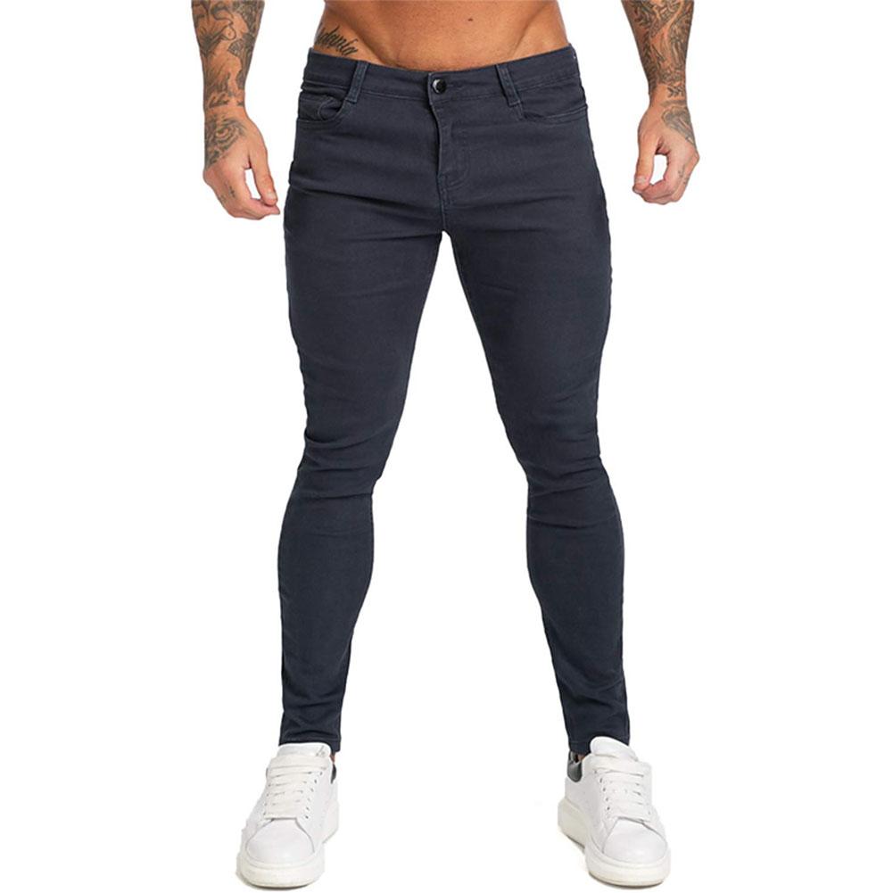 Men Winter Jeans Middle Waist Trousers Pants for Autumn Winter  Navy blue_L