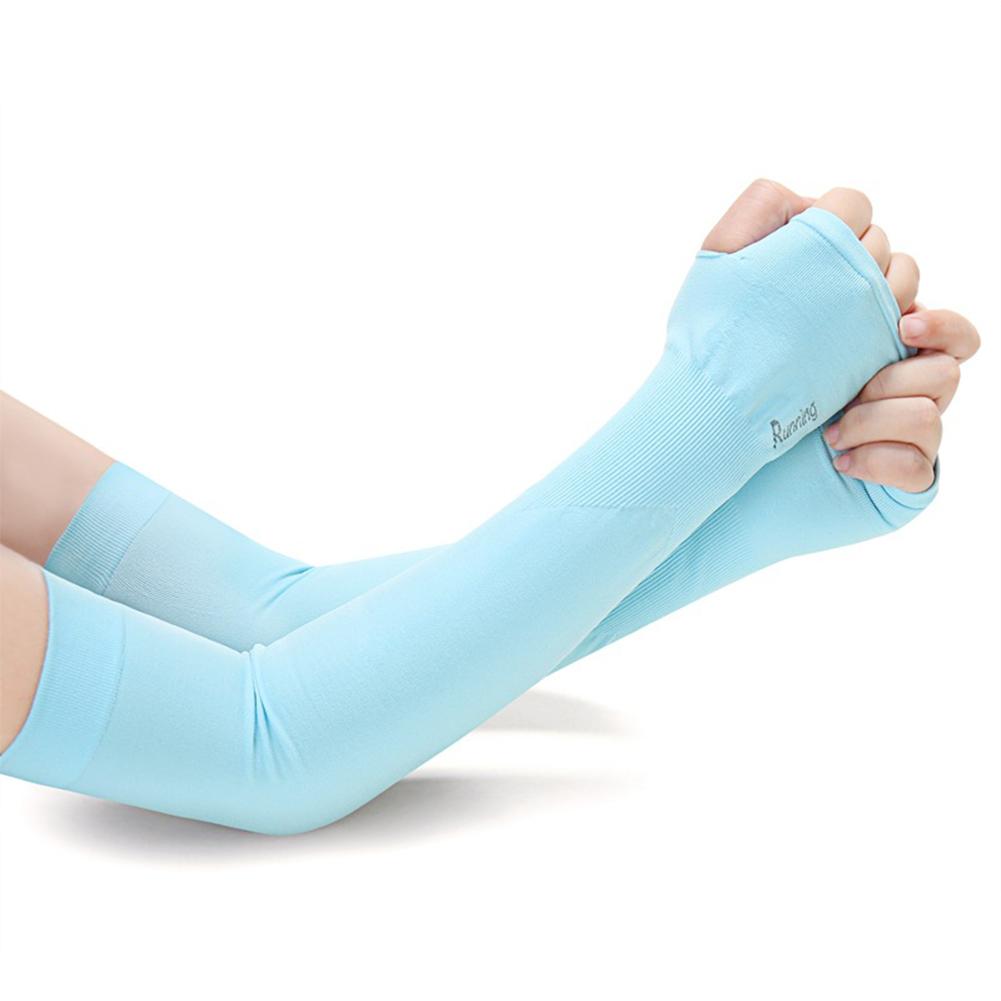 Outdoor Sport Breathable Arm Sleeve Sun Block Warmer Cooler Long Arm Sleeve Unisex Skin Protection Sleeve Blue