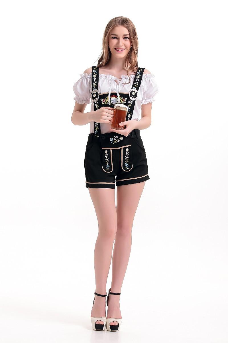 Women Fashion Oktoberfest Style Embroider Costume Suspender Shorts Suit black_XL