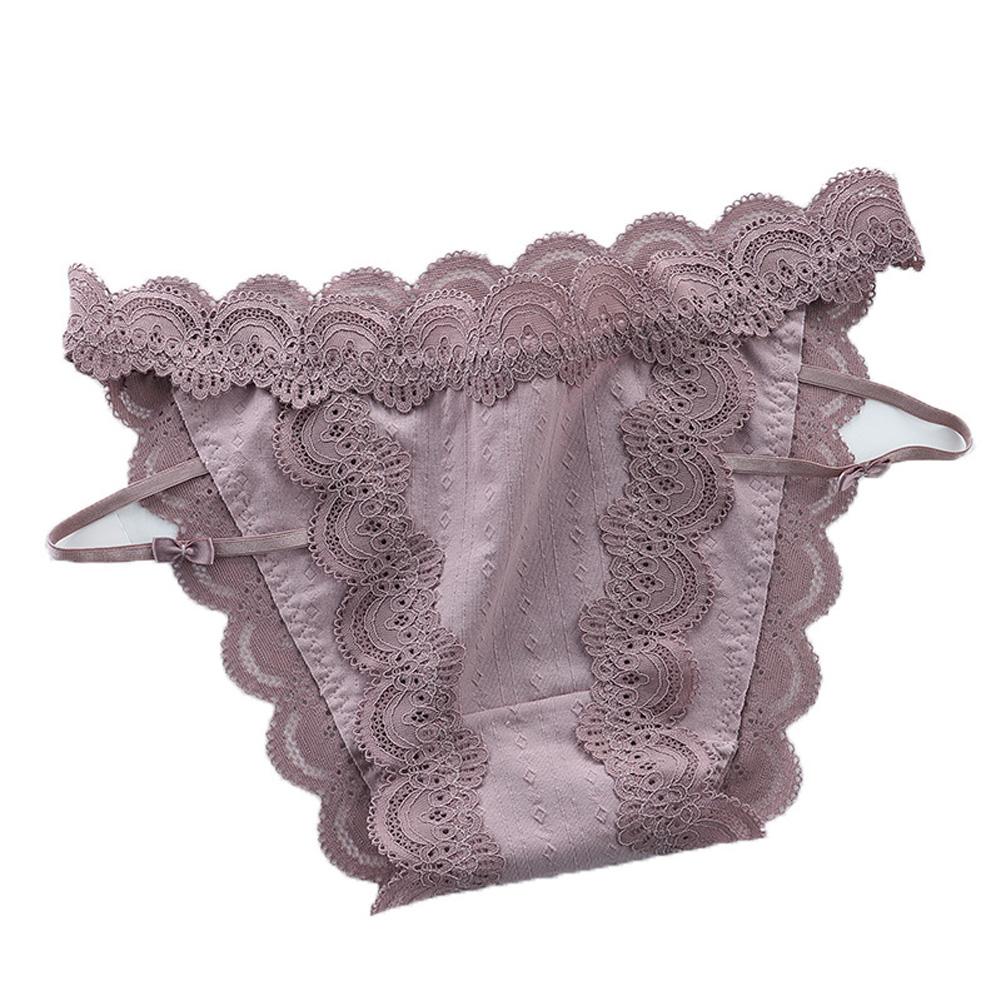 Women Sexy Briefs Lace Cotton Underwear Low Waist Panties Lady Lingerie Underpants pinkish gray_One size