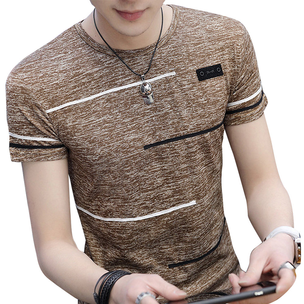 Men Short Sleeve Fashion Printed T-shirt Round Neck Tops Khaki_L