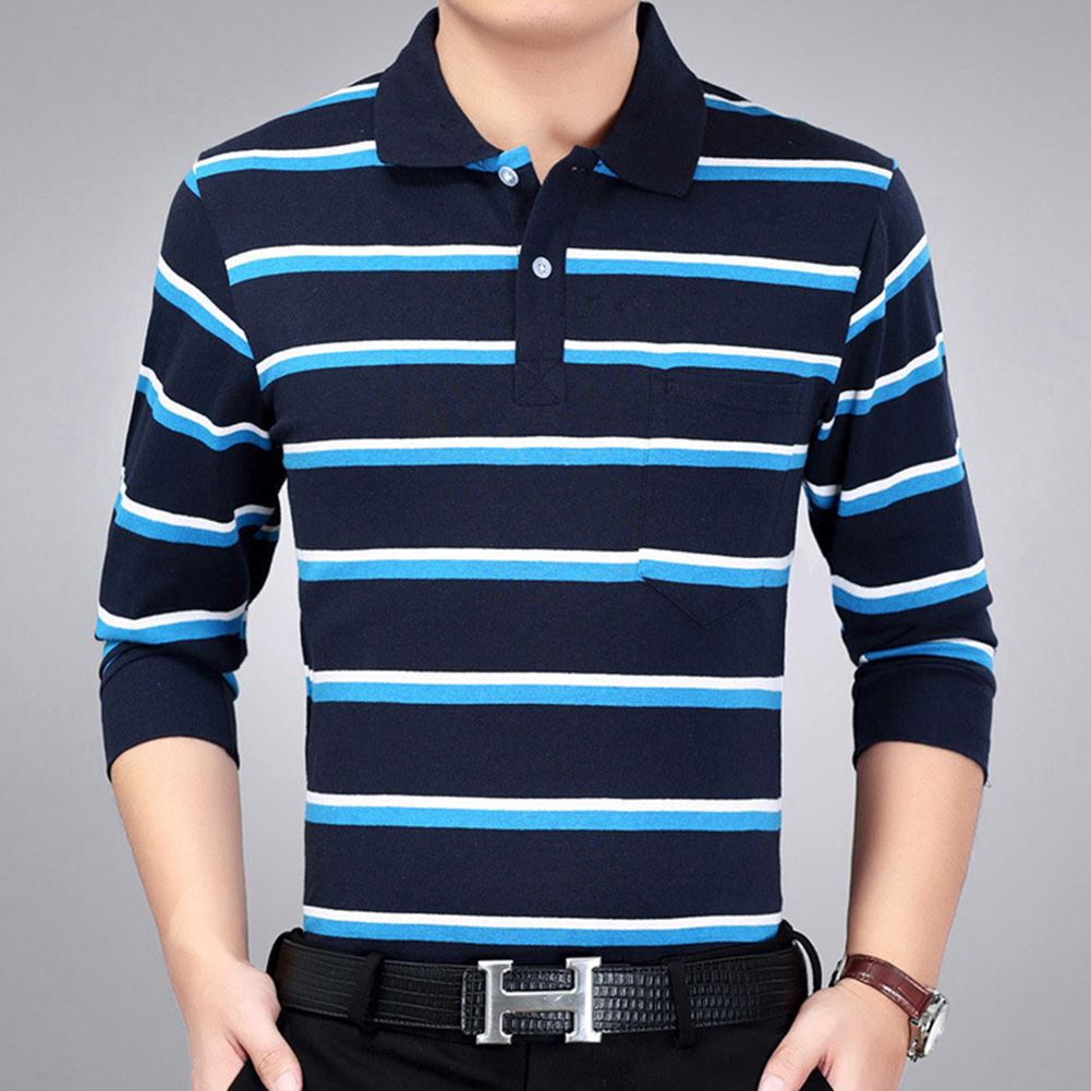 Casual Long Sleeve Business Shirts Turn-down Collar Top Male Striped Polo Shirt  26#_XXL