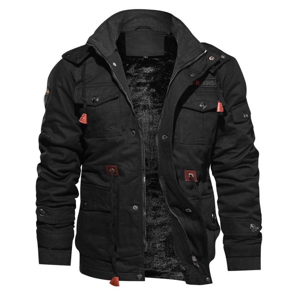 Men Autumn And Winter Fleece Lined Thickening Embroidered Cotton Hooded Jacket Coat Tops black_XL