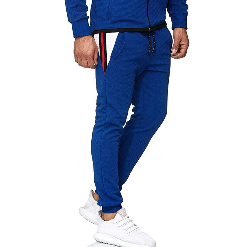 Men Fall Winter Casual Fashion Stripes Middle-Waisted Pants Trousers for Sports Casual Business blue_M