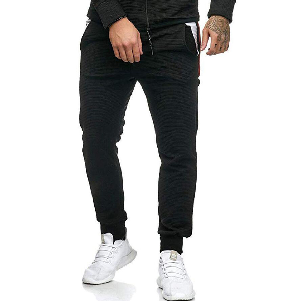 Men Fall Winter Casual Fashion Stripes Middle-Waisted Pants Trousers for Sports Casual Business black_XXL