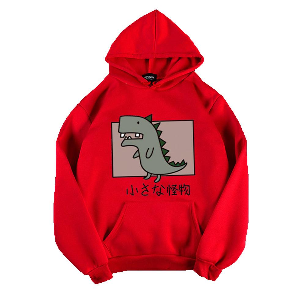 Boy Girl Hoodie Sweatshirt Cartoon Dinosaur Printing Spring Autumn Loose Student Pullover Tops Red_XL