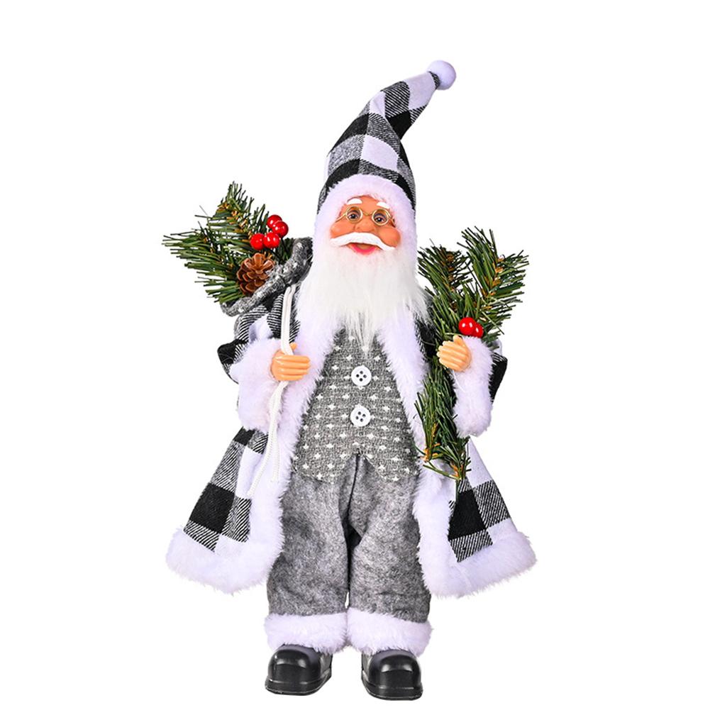 Christmas  Doll Standing Pose Santa Claus Pine Leaves Handheld Christmas Decorations Resin Standing Santa Claus Gray